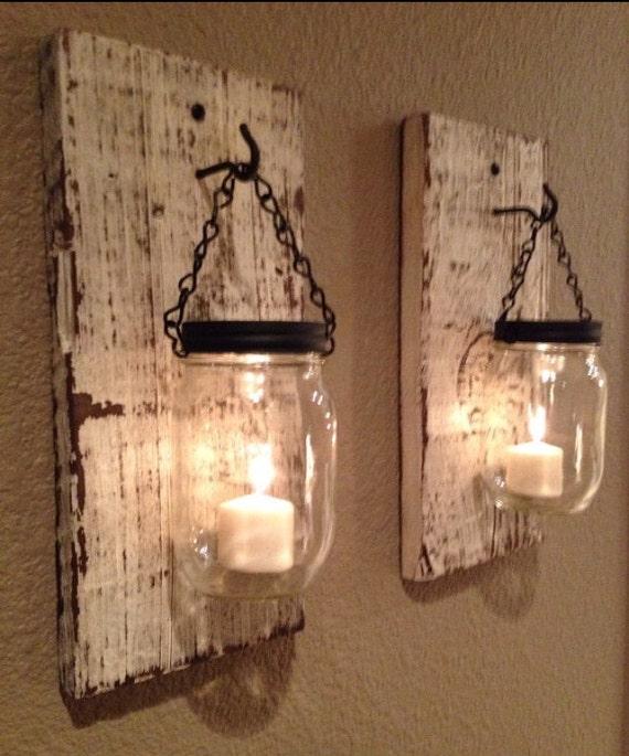 White Barn Wood Mason Jar Candle Holders Etsy