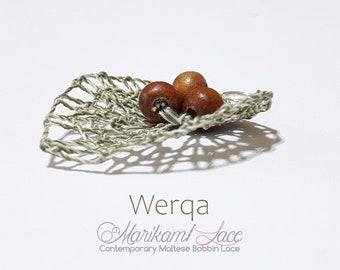Maltese bobbin lace Silver lace pendant AQUA DROP PENDANT small dainty pendant leaf shape pendant metallic bobbin lace jewellery