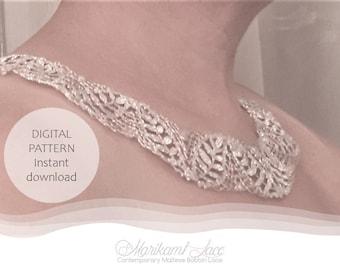Bobbin Lace Necklace PATTERN with working diagram, patrones de bolillos