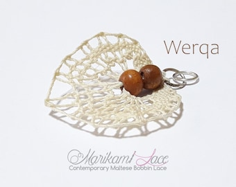 Bobbin Lace Jewelry, lace pendant, pendant with wooden beads, leaf pendant, pendant with wooden beads