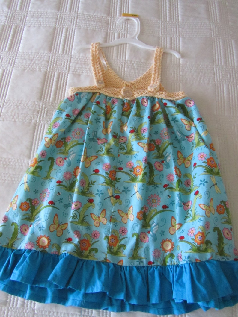 Girls Cotton Dress with Cotton Knitted Yoke Blue and Yellow