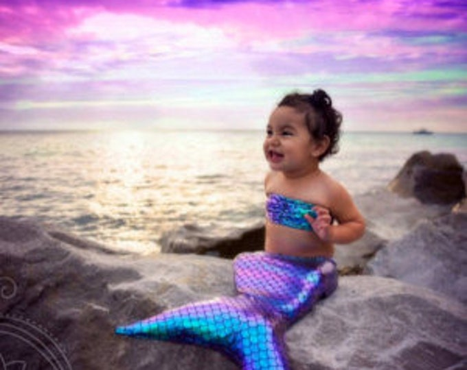 Infant Mermaid Tails for Playtime!! Great For Photoshoots ! Includes Cotton Filled Insert /Add Top / Many Colors to Choose From!