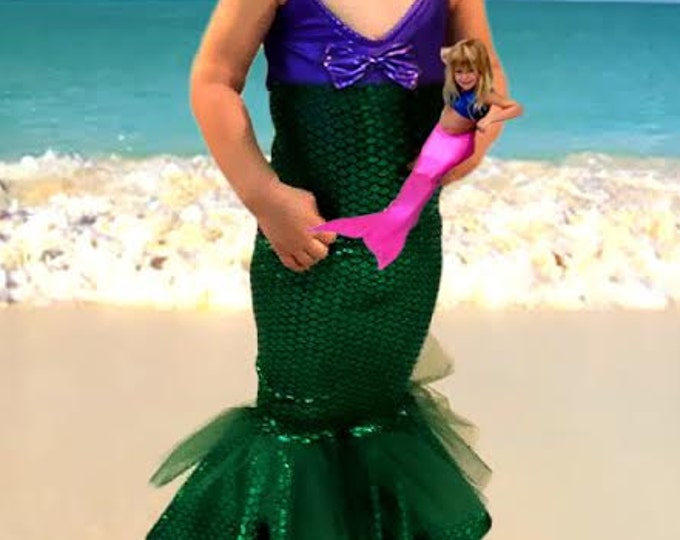 Mermaid Skirt w/ Matching Bathing Suit! Many Colors to Choose From!! Fast Shipping!