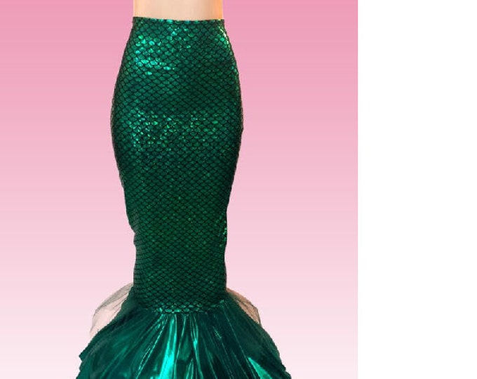 Deluxe Hi waisted  Mermaid Skirt with Contrasting Ruffle and Tulle for Adults! FAST SHIPPING!!