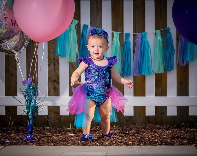 Mermaid Birthday Romper  with Tutu and Matching Headband! Many Colors to Choose From!! Design Your Own Look!!Fast Shipping!