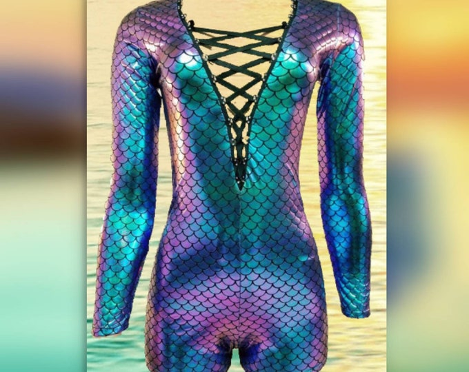 Mermaid Short Bodysuit with Rhinestone Laced Front / Invisible Zipper Back