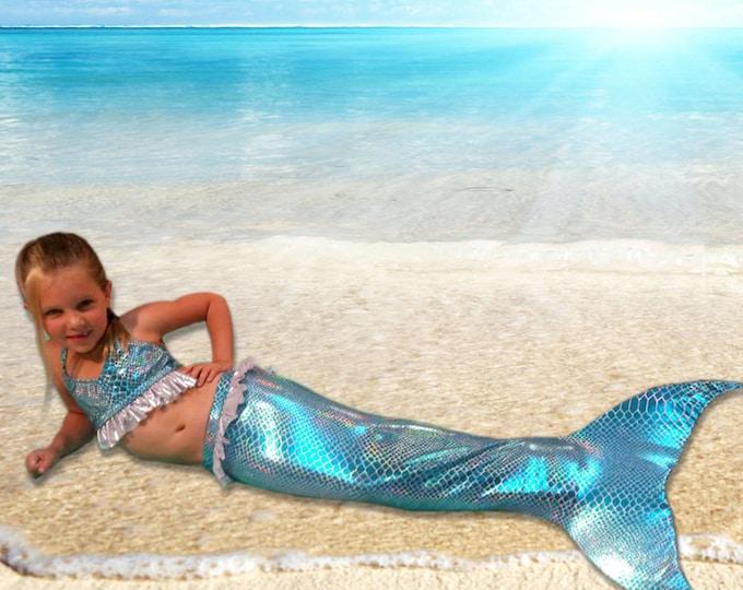 FROZEN Mermaid Tail  /Swimmable & Walkable Frozen themed Tail with Invisible Zipper Bottom!Add Monofin/Add Bikini