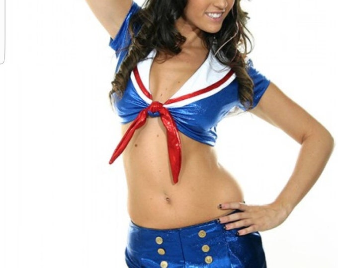 Sailor Girl Costume! Shimmer Tie Top w/ Bib and Matching Shorts with Gold Buttons!