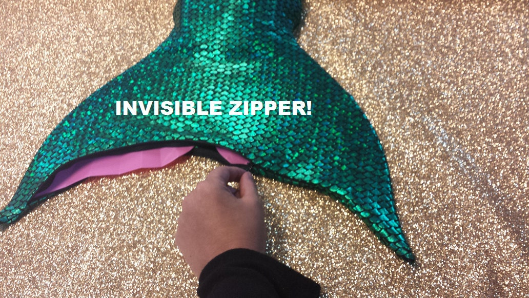 Swimmable Mermaid Tail with Invisible Zipper Bottom