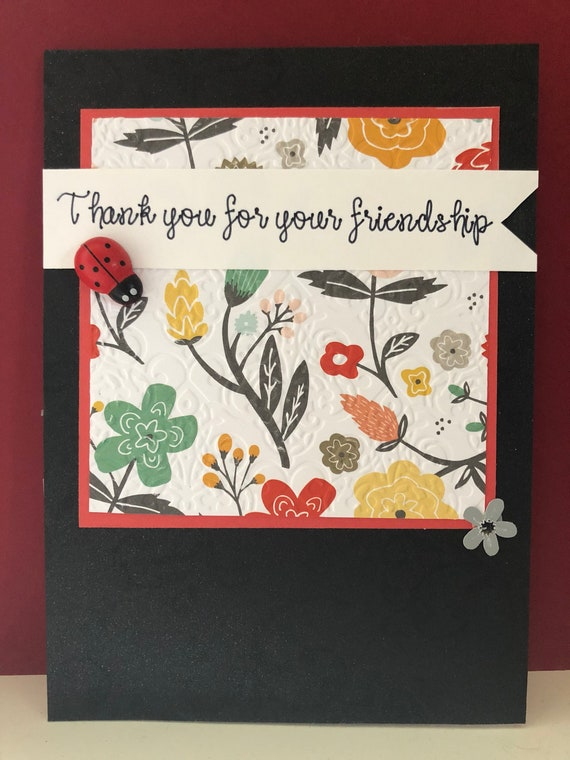 Thank You For Your Friendship Card Handmade Etsy