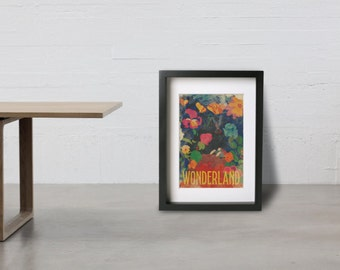 COME TO WONDERLAND poster - Inspired by the Movie Alice in Wonderland , Giclée Fine art prints.
