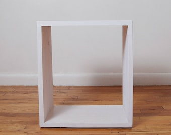 Simple Rectangle Wood Nightstand, Side Table, End Table, Stool, Pedestal, Plant Stand- White Wash