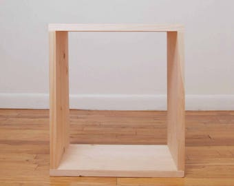 Simple Rectangle Wood Nightstand, Side Table, End Table, Stool, Pedestal, Plant Stand- Raw