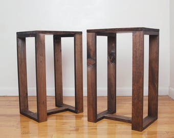 Pair of Side Tables, Set of 2 nightstands, simple modern end tables, wooden plant stands - Dark Walnut