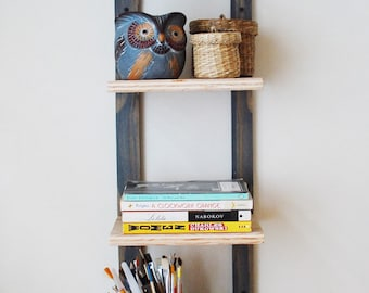 Hanging Bookshelf Wall Mounted Shelving Floating Reclaimed Plywood Thin Bookshelves Shelf Storage Gray