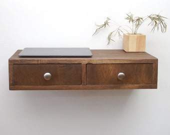 Floating Desk, Wall Mounted Desk with 2 drawers, Hanging Shelf with Storage - Walnut