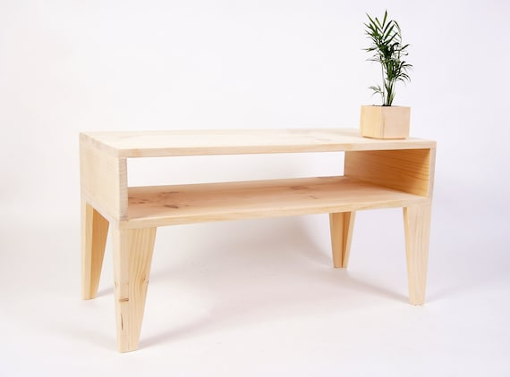 Raw Modern Coffee Table with Angle Legs Low Simple Table Coffee Table with extra Shelf