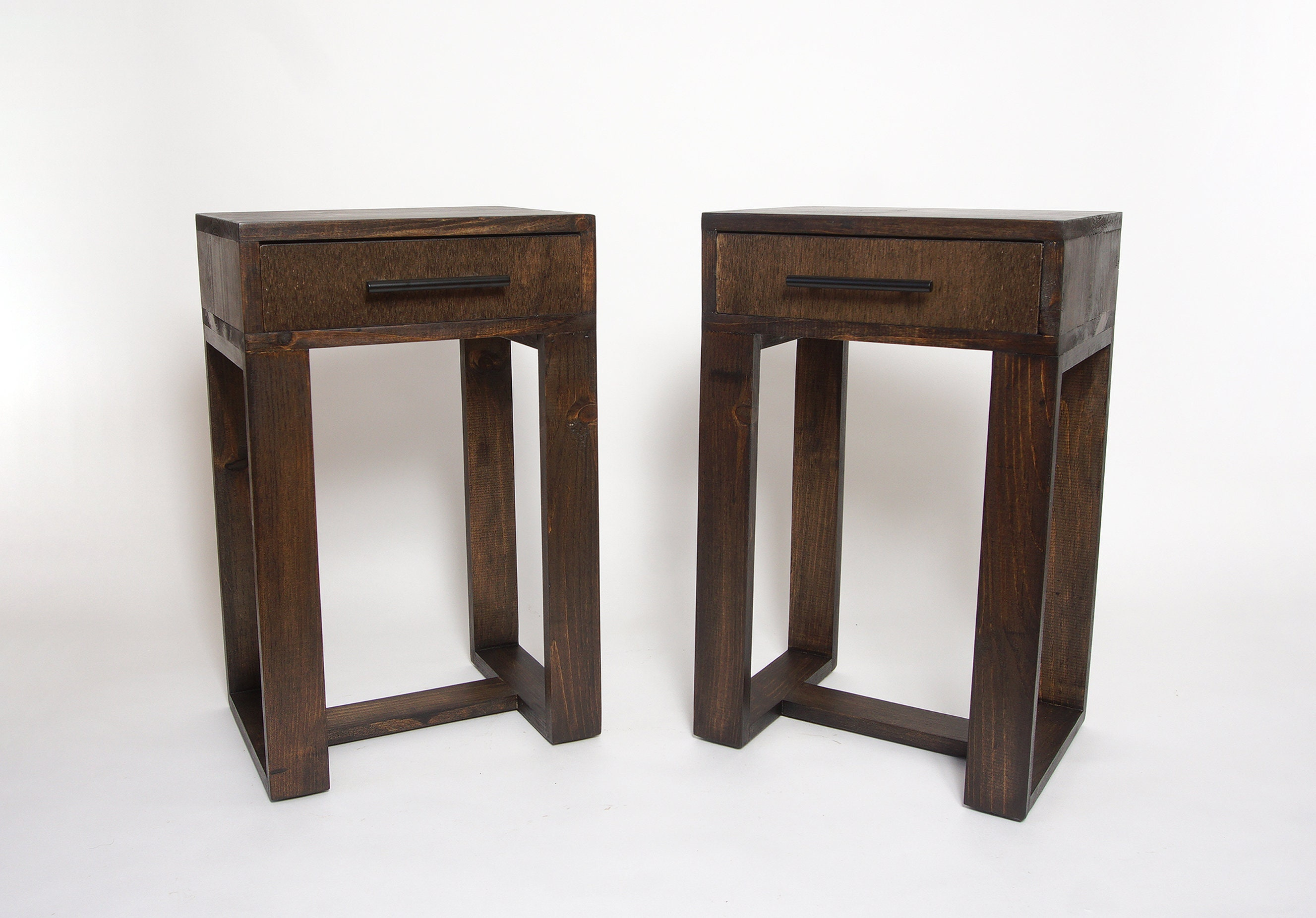 Pair Of Nightstands Set Of 2 Modern Nightstands With Thin Etsy