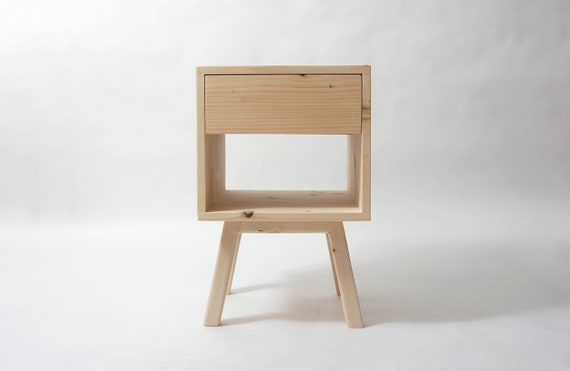 Natural Pine Wood Nightstand Reclaimed Wood Mid Century Nightstand Bedside Table Drawer Tapered Legs Pine Table With Storage Natural