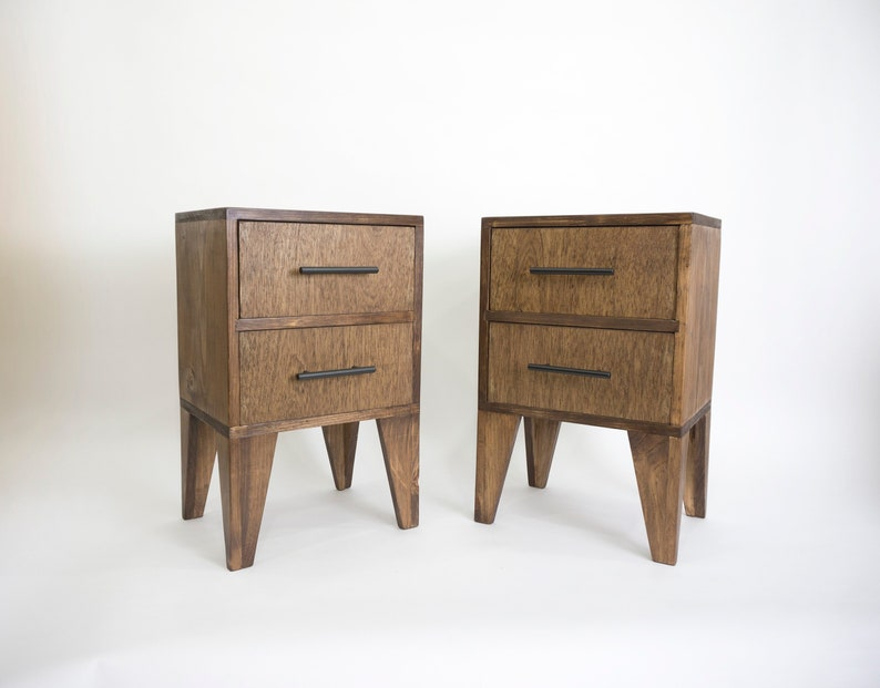 Pair of solid wood nightstands with 2 large drawers Set of 2 image 0