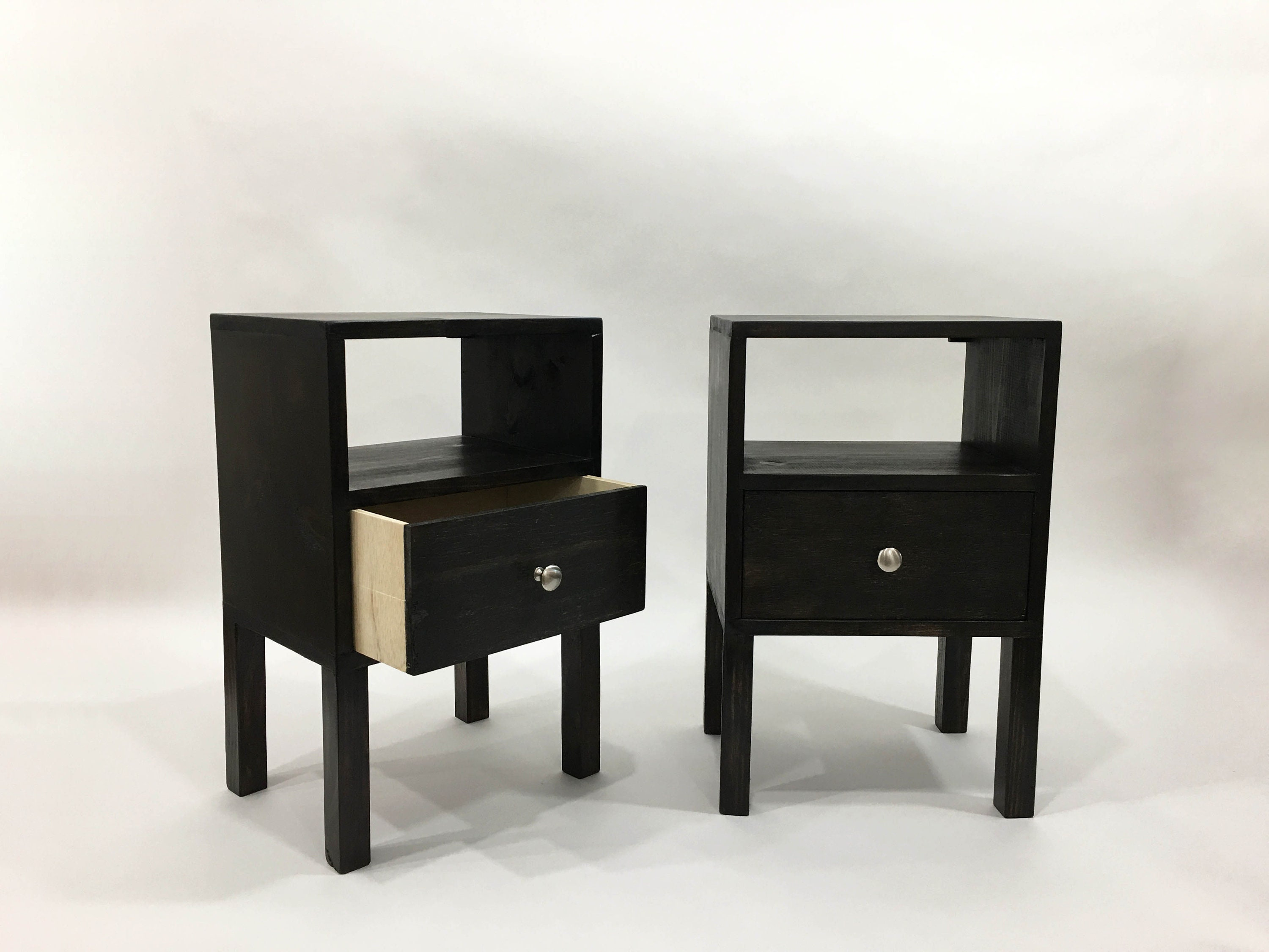 Charmant Pair Of Black Tables, Square Wood Nightstands, Set Of 2 Nightstands, Pair  Of Tables, Bedside Table, Reclaimed Wood Side Table, End Table