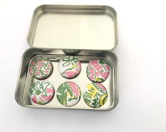 Abstract Pink, Yellow and Green Magnet Set