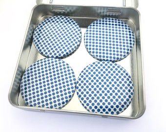 Blue and White Polka Dot Magnet Set