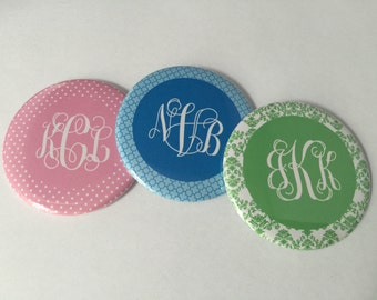 Personalized Vine Font Monogram Bottle Openers, Pocket Mirrors, and Magnets