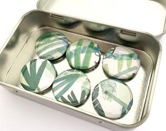 Abstract Green Leaf Magnet Set