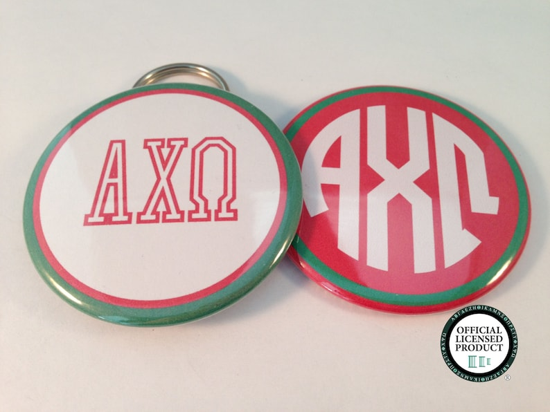 Alpha Chi Omega Monogram Bottle Opener Keyrings, Pocket Mirrors and Magnets
