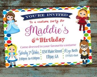 50 off costume party invitation princess costume invitation etsy