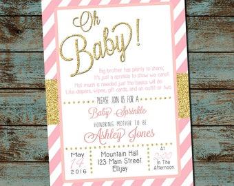 Elegant Baby Shower Sprinkle Invitation, Girl Sprinkle,  Pink and Gold, Baby Girl Shower, Oh Baby, DIY, Printable Digital Invitation