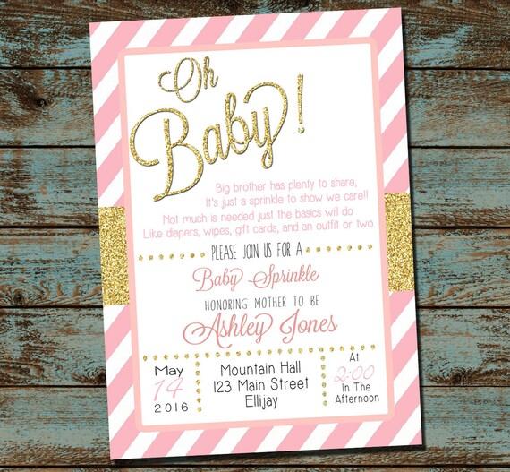 elegant baby shower sprinkle invitation girl sprinkle pink etsy