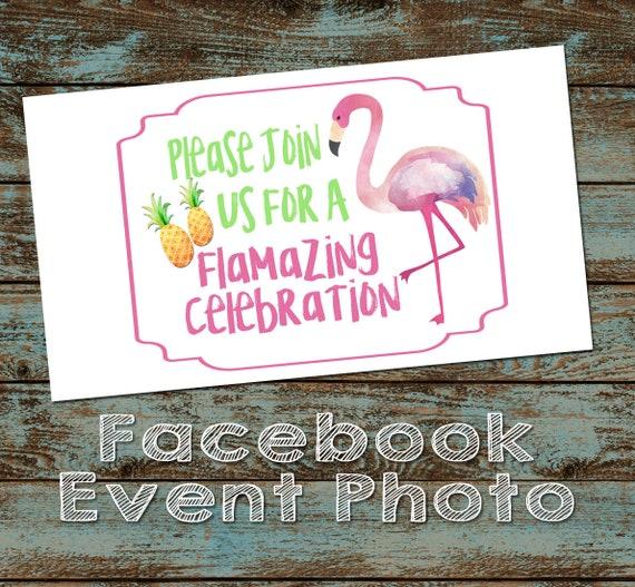 Flamingo Birthday Party Facebook Event Cover Photo Flamingo Etsy