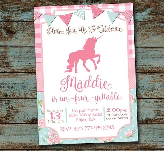 Unicorn Birthday Invitation Un Four Gettable Party