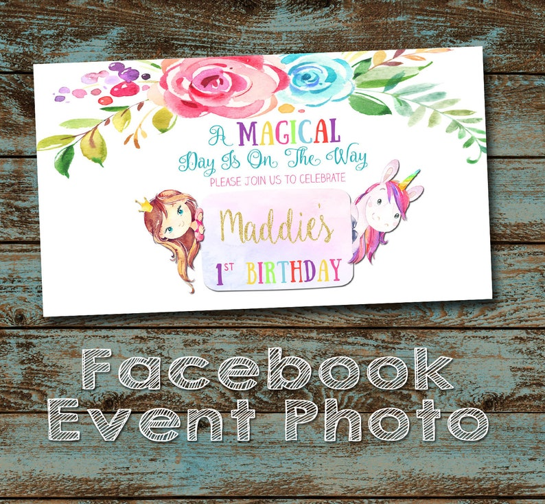 Unicorn Birthday Party Facebook Event Cover Photo Girl