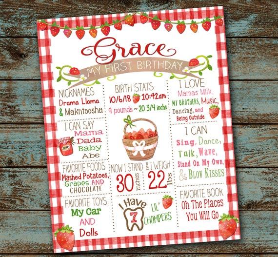 Two Sweet Birthday Poster Strawberry Birthday Milestone Sign ...