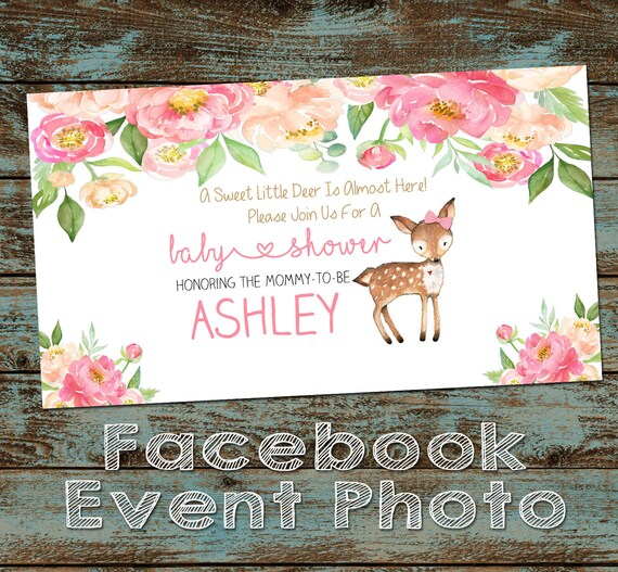 Little Deer Baby Shower Facebook Event Cover Photo Girl Baby Etsy