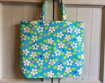 Birdie fabric  Re-use shopping Tote. Environmentally friendly