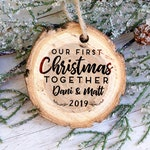 First Christmas together Personalized Ornament, Tree Bark Christmas Ornament, First Christmas Together Custom Ornament, --10593-OR16-007