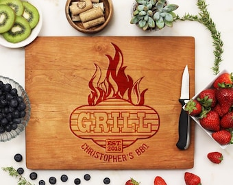 Personalized Cutting Board, Custom Engraved Cutting Board, BBQ Grill Master Housewarming Man Cave Gifts for Him Cherry Wood --21086-CUTB-003