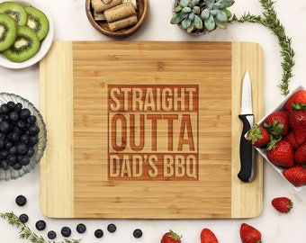 Personalized Cutting Board, Custom Cutting Board, Engraved Cutting Board, Father's Day Dad BBQ Grill Bamboo Wood --21202-CUTB-001