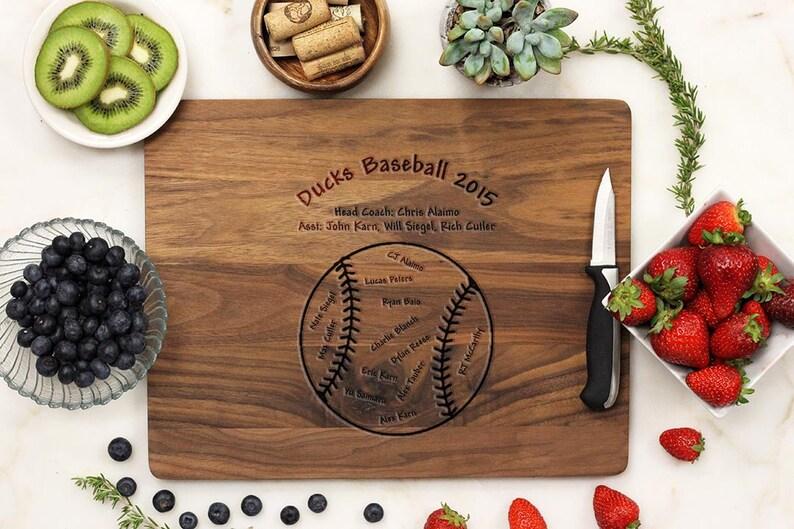 Baseball Cutting Board Engraved White Oak wood -21048-CUTB-004 Personalized Cutting board Baseball Coaches Gift