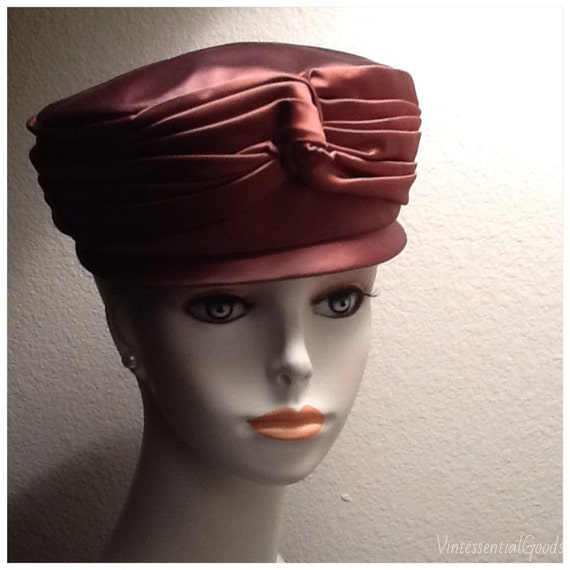 Russet Pillbox Hat / Brown Pillbox Hat / Vintage /