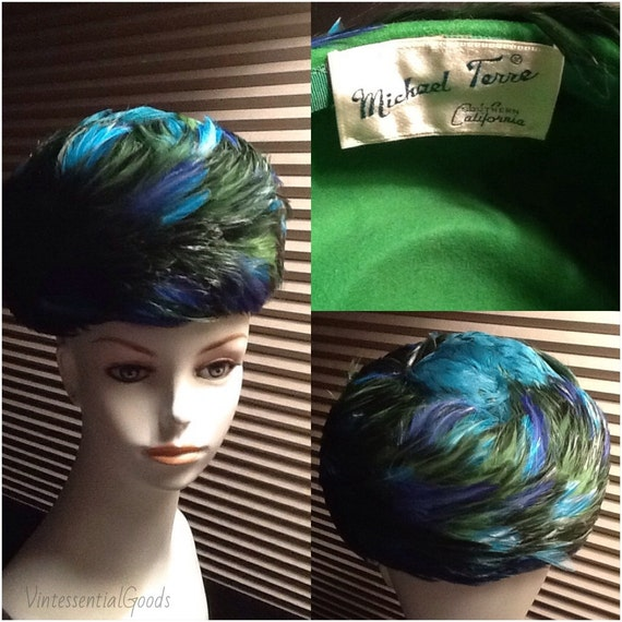 Vintage Feathered Hat / Blue Hat / Green Hat / 50s