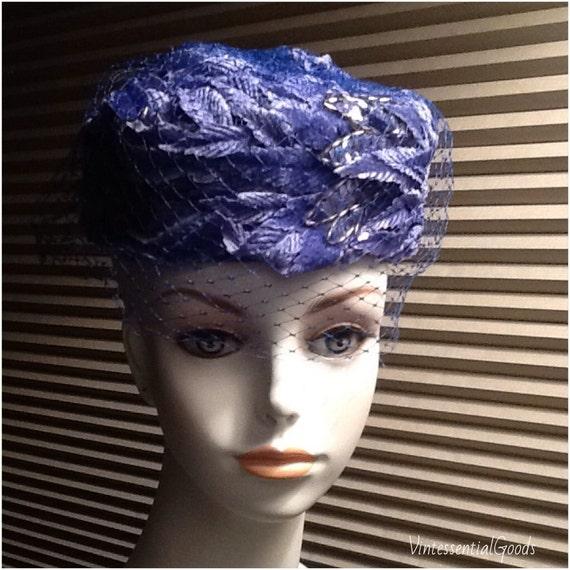 50s Vintage Blue Hat / Wedding Hat / Pillbox Hat /