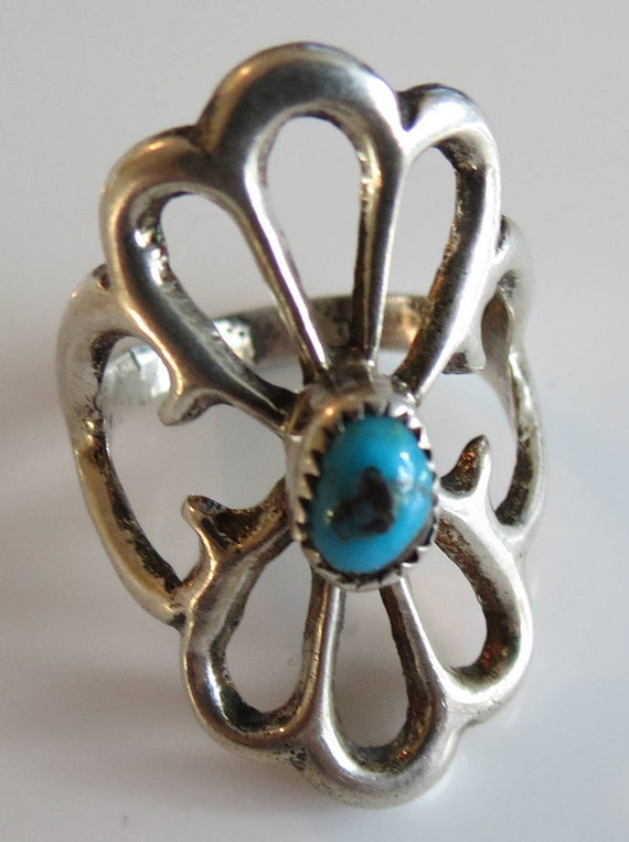 Sandcast Turquoise and Silver Ring