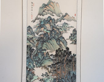 """Chinese Traditional Water Color Painting (Traditionally Silk framed) Large Size 53"""" x 27"""" (framed size 78"""" x 32"""")"""