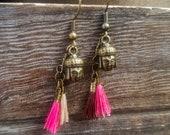 Bronze Buddha Tassel Earr...
