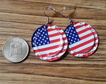 USA Flag, Bottle Cap Earrings, United States of America, Patriotic, Fourth of July, US Flag, American Flag, Independence Day, July 4th